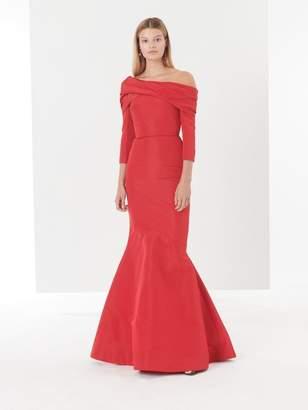 Oscar de la Renta Off-the-Shoulder Draped Silk-Faille Gown