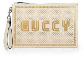 Gucci Guccy Print Leather Pouch in SEGA? Font