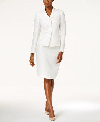 Le Suit Metallic Three-Button Skirt Suit $200 thestylecure.com