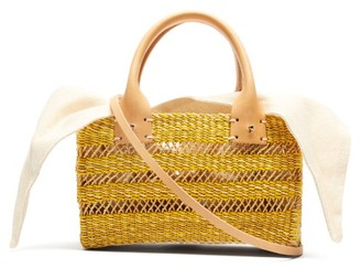 Muun Carrie Canvas And Woven Straw Bag - Womens - Cream Multi