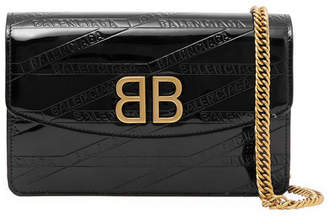 Balenciaga Bb Patent-leather Shoulder Bag - Black