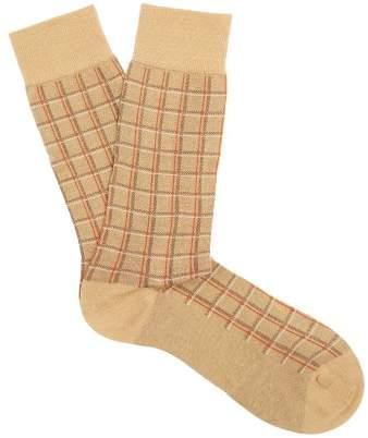 Saffron checked cotton-blend socks