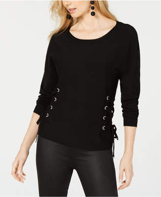 INC International Concepts I.n.c. Scoop-Neck Lace-Up Sweater