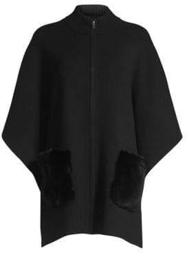 Sofia Cashmere Zip Rabbit Fur Patch Pocket Cashmere Cape