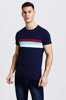 boohoo Crew Neck T-Shirt With Colour Block Panel