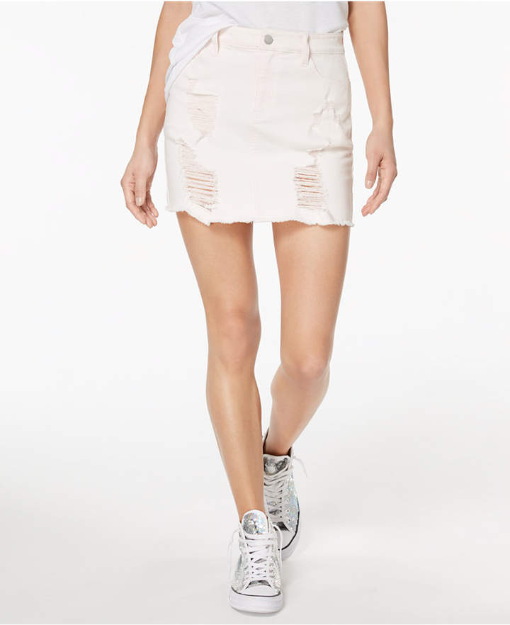 Tinseltown Juniors' Ripped Denim Skirt