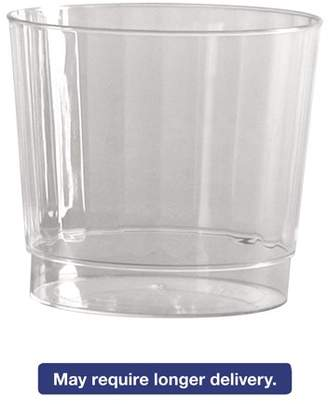 clear WNA Classic Crystal Plastic Rocks Tumblers, 9 oz., Clear, Fluted, Squat, 12/Pack