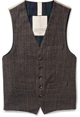 MAN 1924 Taylor Slim-Fit Herringbone Wool And Cotton-Twill Waistcoat