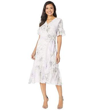 Vince Camuto Tiered Ruffle Sleeve Blossoms Wrap Dress