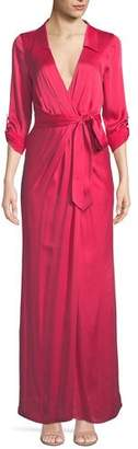 Alice + Olivia Bayley Wrap Draped Silk Maxi Shirtdress
