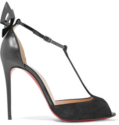 Christian Louboutin - Aribak 100 Bow-embellished Leather And Suede T-bar Sandals - Black