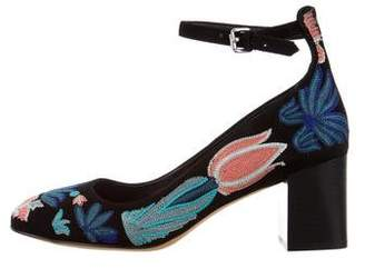 Rebecca Minkoff Floral-Embroidered Ankle Strap Pumps