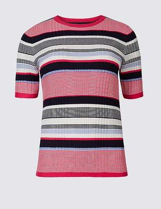 Marks and Spencer Striped Round Neck Short Sleeve Jumper