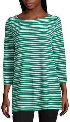 Liz Claiborne 3/4 Sleeve Shoulder Zip Tunic Top