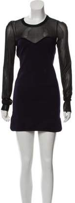Isabel Marant Wool-Blend Color Block Dress Purple Wool-Blend Color Block Dress
