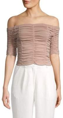 Ronny Kobo Levana Off-the-Shoulder Ruched Top