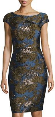 Vera Wang Cap-Sleeve Brocade Sheath Dress, Blue/Black $189 thestylecure.com