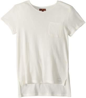 7 For All Mankind Kids High-Low V-Neck Pocket Tee Girl's T Shirt