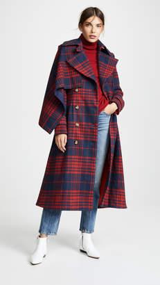 Anna October Plaid Long Coat