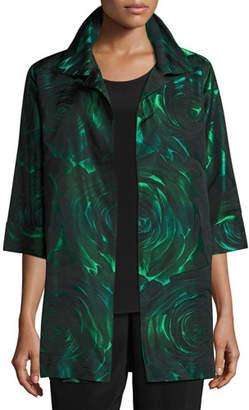 Caroline Rose Plus Size Night Blooms Jacquard Party Jacket, Emerald/Black