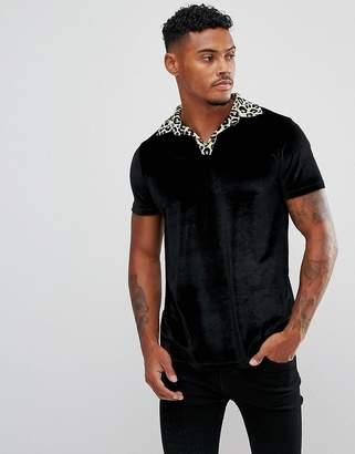 Asos DESIGN Polo In Velour With Leopard Print Revere Collar