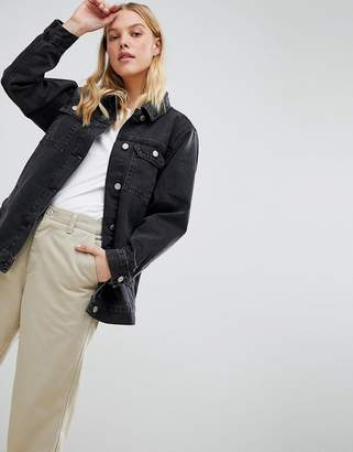 Asos DESIGN denim girlfriend jacket in washed black