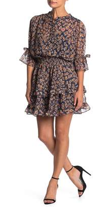 Love Stitch Floral Printed Tiered Dress