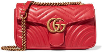 Gg Marmont Small Quilted Leather Shoulder Bag - Red