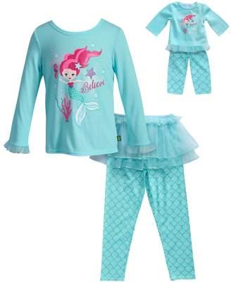 "Dollie & Me Girls 4-14 Believe"" Mermaid Top, Tutu & Bottoms Pajama Set"