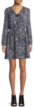 MICHAEL Michael Kors Long-Sleeve Swirl-Print Keyhole Dress