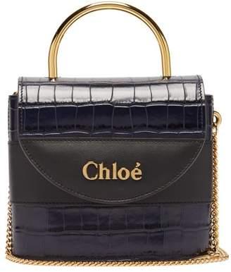 Chloé Aby Lock Crocodile Effect Leather Cross Body Bag - Womens - Navy