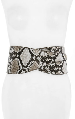 Halogen Wide Snake Print Belt