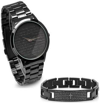 STEELTIME Steeltime Mens Lord's Prayer Black Bracelet Watch-B80-011-W-613-150-B