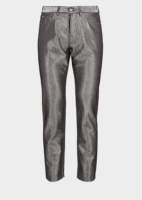 Versace Silver Denim Thread Pants