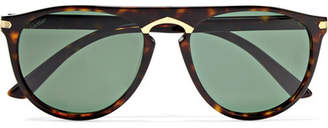 Cartier D-frame Acetate And Gold-plated Sunglasses - Tortoiseshell