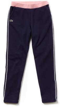 Lacoste Girls' Contrast Accents Fleece Sweatpants
