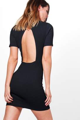 boohoo Quinn Structured Open Back Bodycon Dress