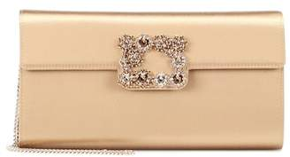 Roger Vivier Envelope Flowers satin clutch