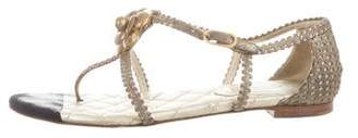 Chanel Metallic Camellia Sandals