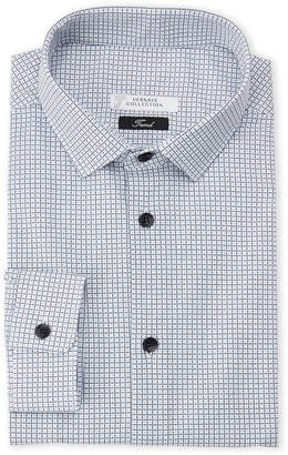 Versace White & Navy Check Trend Fit Dress Shirt