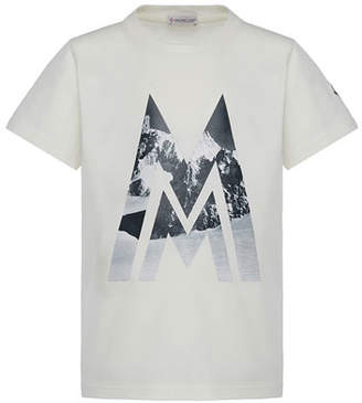 Moncler Short-Sleeve Knit Mountains & Logo Graphic T-Shirt, Size 8-14