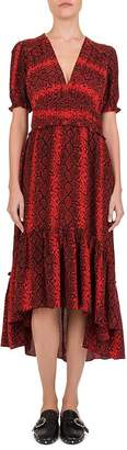 The Kooples Red Hot Snake-Print Midi Dress