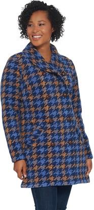 Denim & Co. Printed Fleece Bonded w Sherpa Button Front Coat