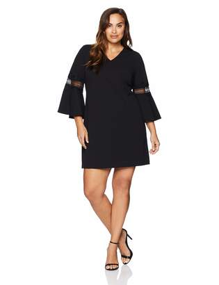 3449c366d88 Jessica Howard JessicaHoward Plus Size Womens Bell Sleeve V-Neck Shift Dress