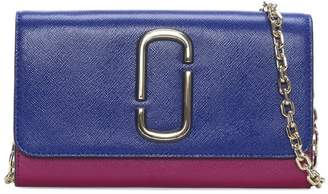 Marc Jacobs Snapshot Academy Blue Multi Cross Grain Leather Wallet On A Chain