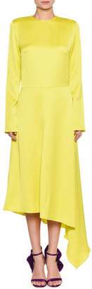 MSGM Long-Sleeve Split-Back Satin Dress