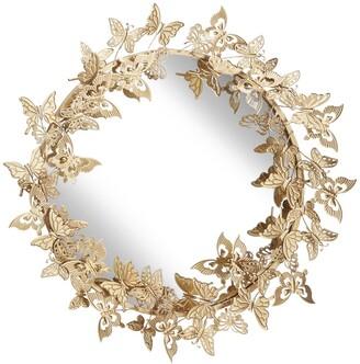 Uma Enterprises Round Metallic Gold Butterfly Hanging Wall Mirror
