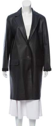 Yves Salomon Leather Knee-Length Coat