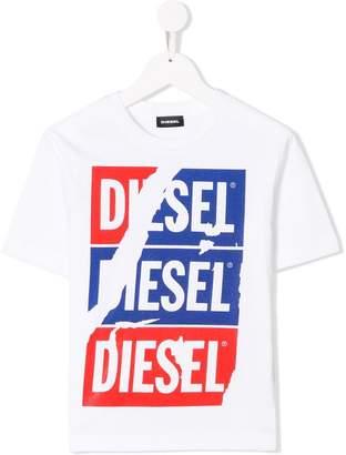 Diesel torn logo T-shirt