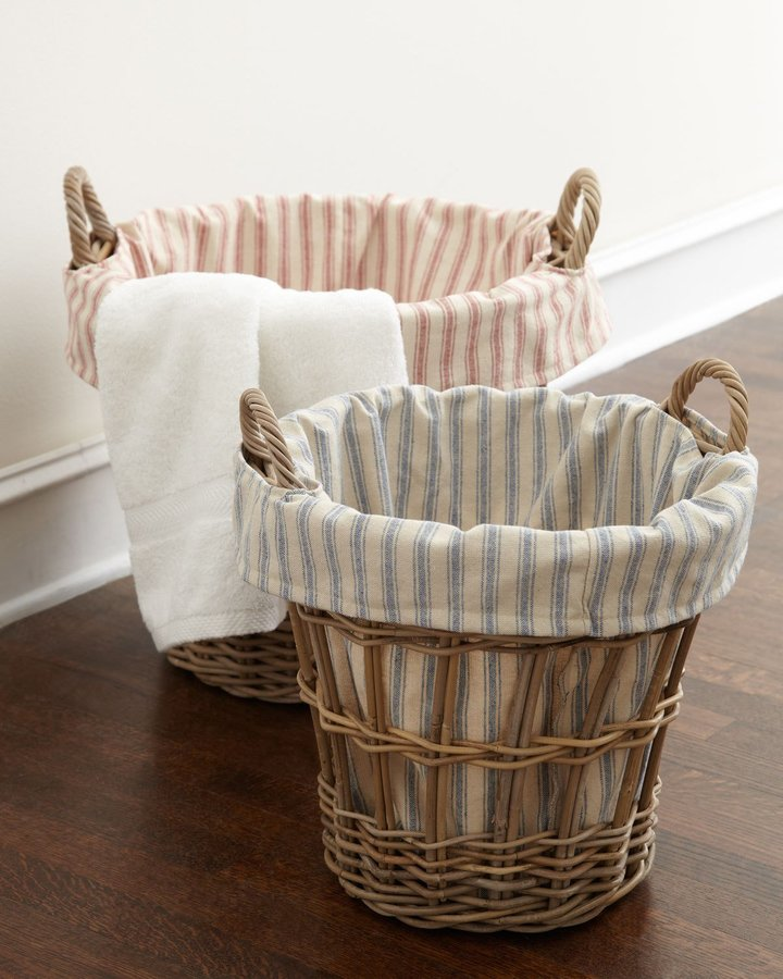 French Laundry Home Wicker Laundry Baskets with Ticking-Stripe Liners